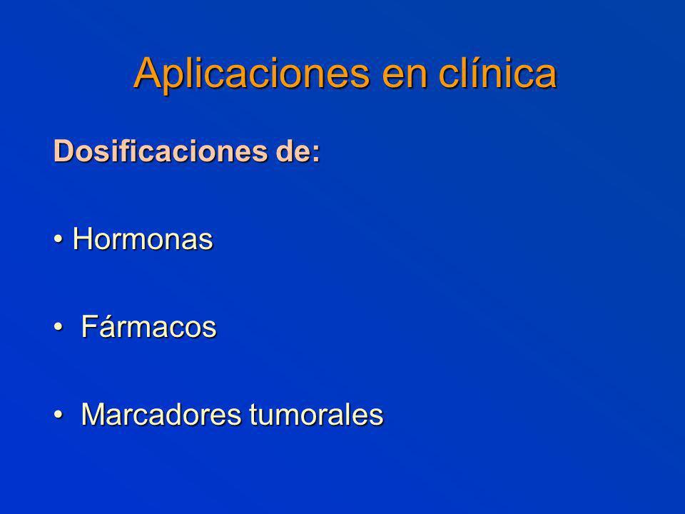 Aplicaciones en clínica Dosificaciones de: Hormonas Hormonas Fármacos Fármacos Marcadores tumorales Marcadores tumorales