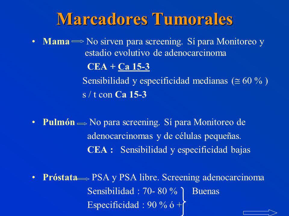 Marcadores Tumorales Mama No sirven para screening.