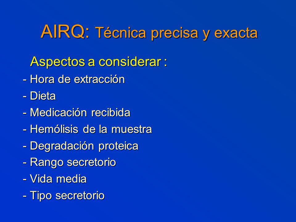 AIRQ: Técnica precisa y exacta Aspectos a considerar : Aspectos a considerar : - Hora de extracción - Dieta - Medicación recibida - Hemólisis de la muestra - Degradación proteica - Rango secretorio - Vida media - Tipo secretorio