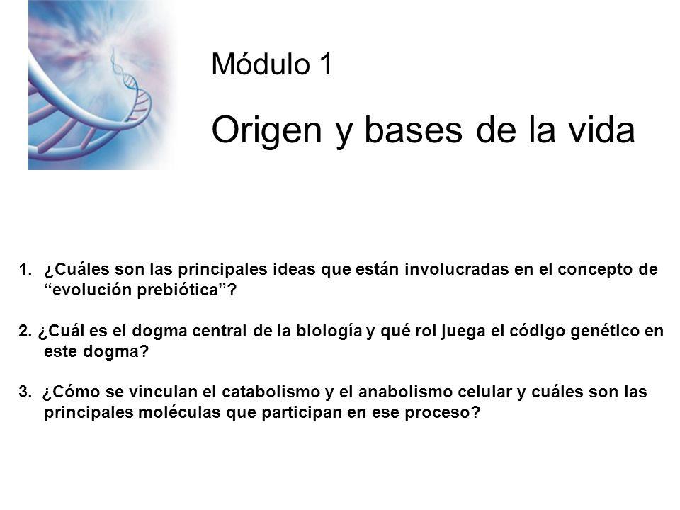 Módulo 1 Origen y bases de la vida 1.¿Cuáles son las principales ideas que están involucradas en el concepto de evolución prebiótica.