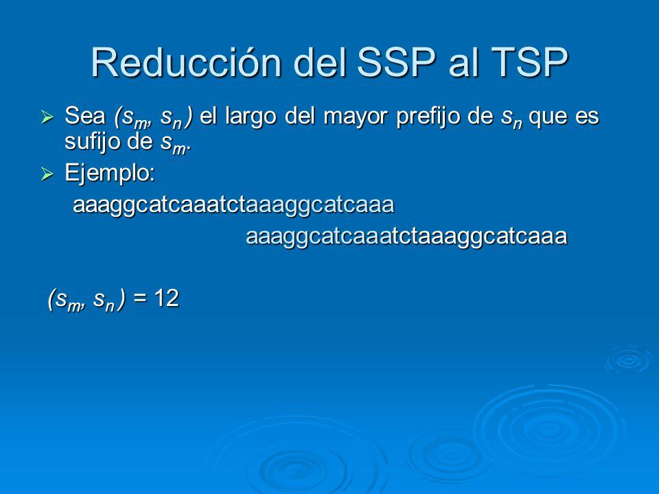 Reducción del SSP al TSP Sea (s m, s n ) el largo del mayor prefijo de s n que es sufijo de s m. Sea (s m, s n ) el largo del mayor prefijo de s n que