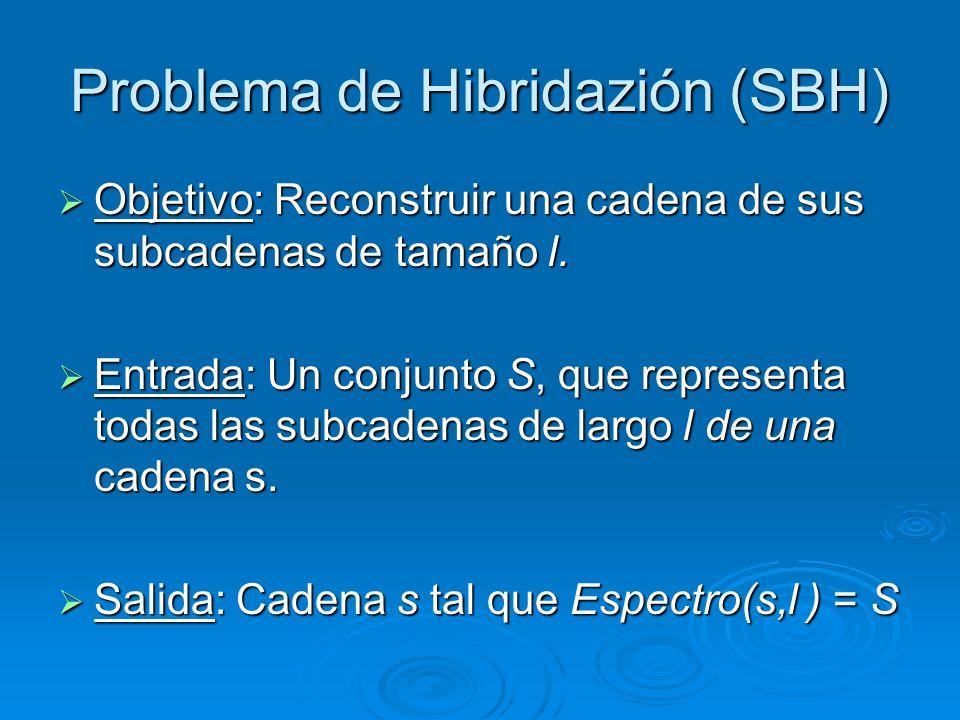 Problema de Hibridazión (SBH) Objetivo: Reconstruir una cadena de sus subcadenas de tamaño l. Objetivo: Reconstruir una cadena de sus subcadenas de ta