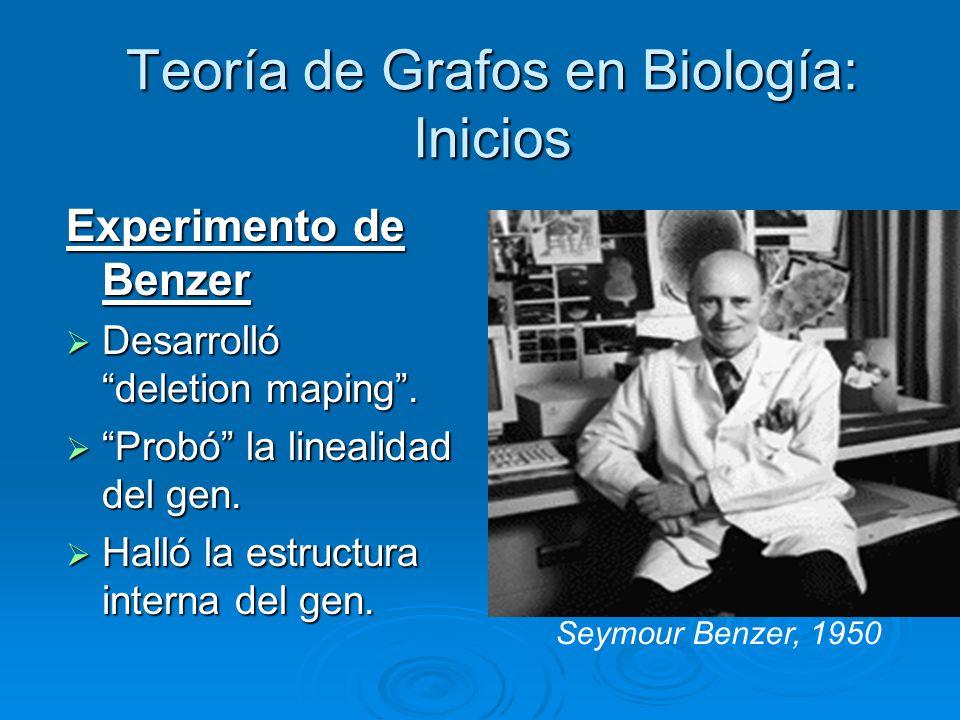 Teoría de Grafos en Biología: Inicios Experimento de Benzer Desarrolló deletion maping. Desarrolló deletion maping. Probó la linealidad del gen. Probó