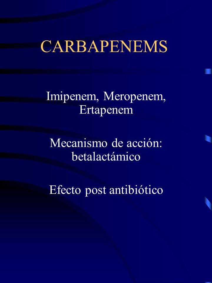 Imipenem, Meropenem, Ertapenem Mecanismo de acción: betalactámico Efecto post antibiótico