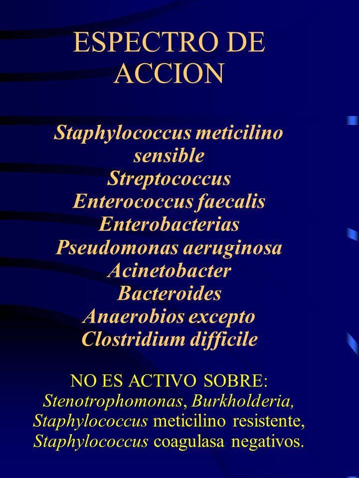 ESPECTRO DE ACCION Staphylococcus meticilino sensible Streptococcus Enterococcus faecalis Enterobacterias Pseudomonas aeruginosa Acinetobacter Bactero
