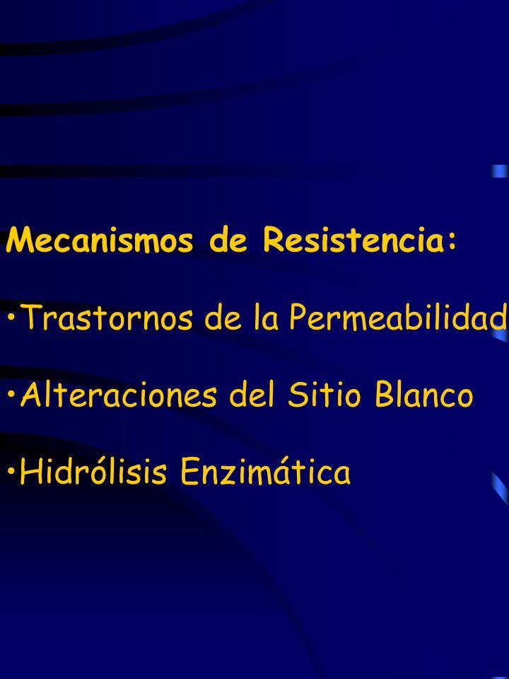 Mecanismos de Resistencia: Trastornos de la Permeabilidad Alteraciones del Sitio Blanco Hidrólisis Enzimática
