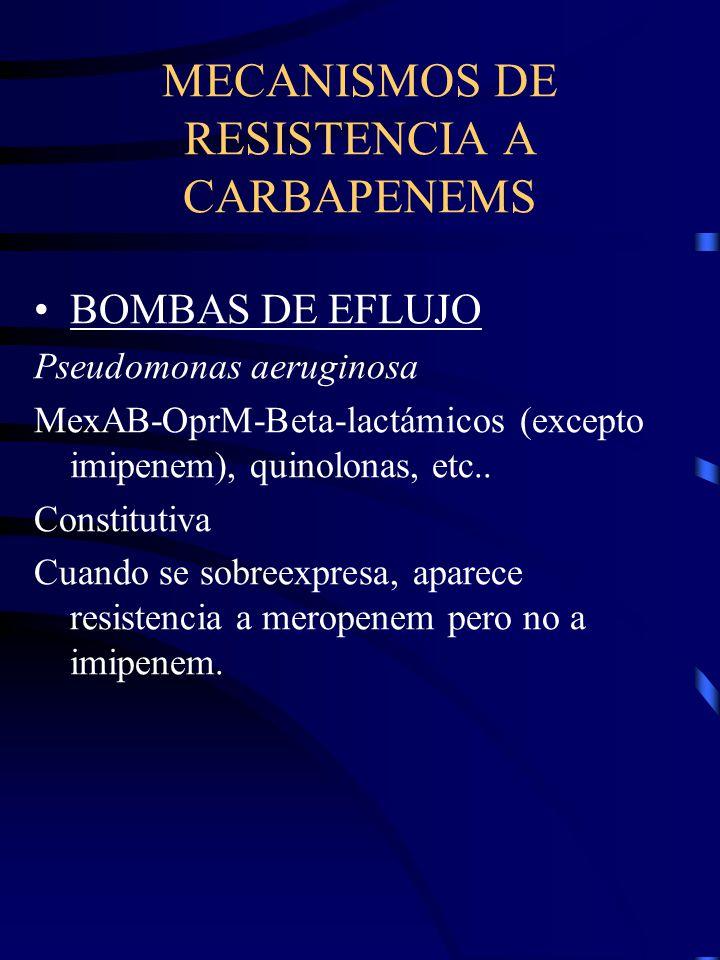MECANISMOS DE RESISTENCIA A CARBAPENEMS BOMBAS DE EFLUJO Pseudomonas aeruginosa MexAB-OprM-Beta-lactámicos (excepto imipenem), quinolonas, etc.. Const