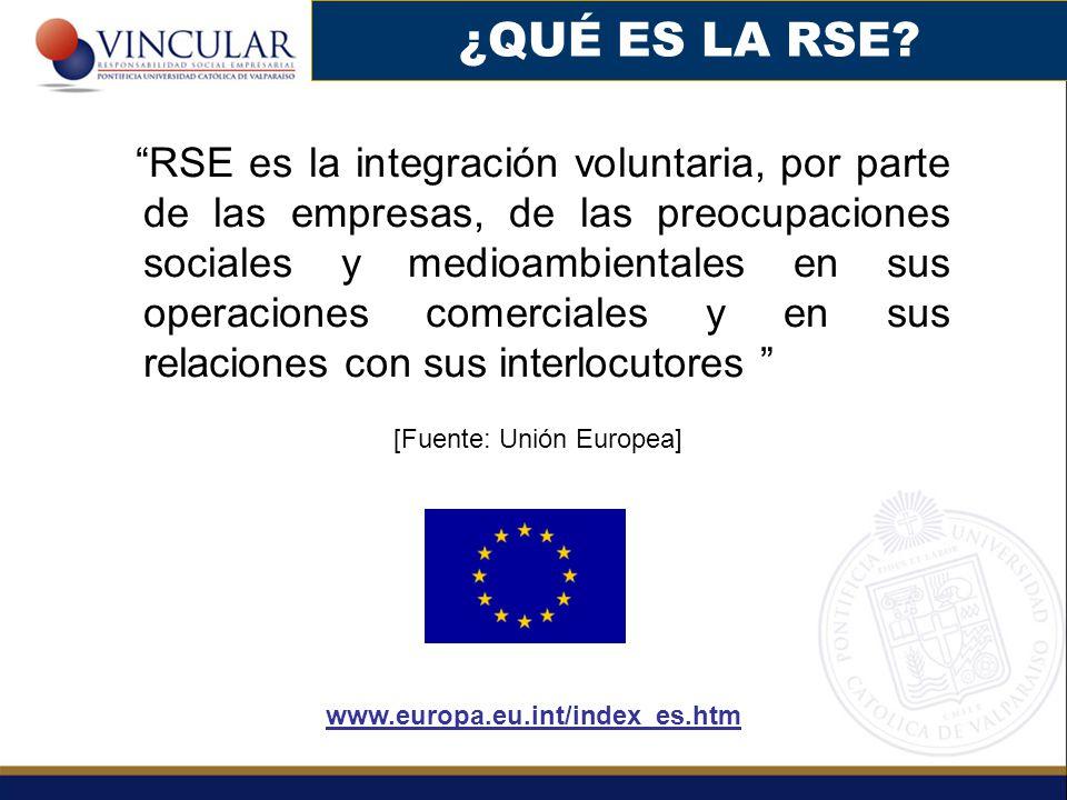RSE es la integración voluntaria, por parte de las empresas, de las preocupaciones sociales y medioambientales en sus operaciones comerciales y en sus relaciones con sus interlocutores [Fuente: Unión Europea] www.europa.eu.int/index_es.htm