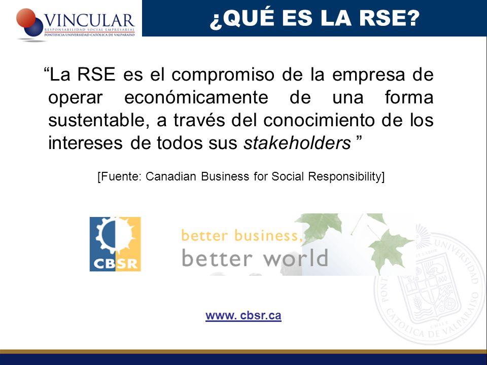 La RSE es el compromiso de la empresa de operar económicamente de una forma sustentable, a través del conocimiento de los intereses de todos sus stakeholders [Fuente: Canadian Business for Social Responsibility] ¿QUÉ ES LA RSE.