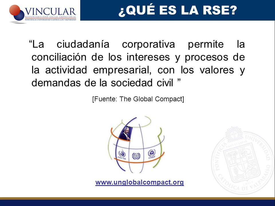 La ciudadanía corporativa permite la conciliación de los intereses y procesos de la actividad empresarial, con los valores y demandas de la sociedad civil [Fuente: The Global Compact] ¿QUÉ ES LA RSE.