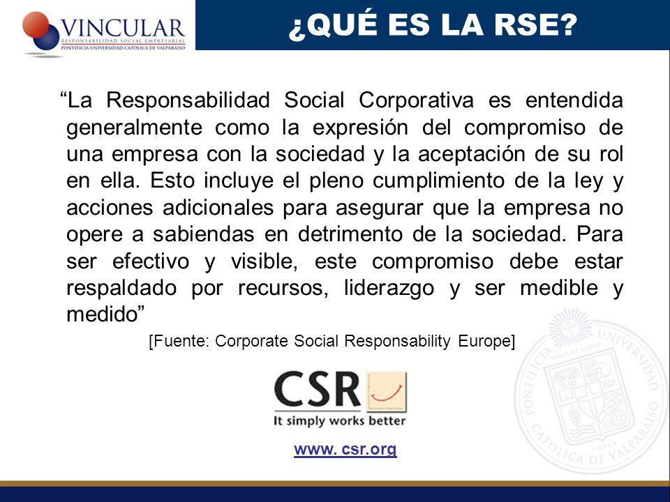 La Responsabilidad Social Corporativa es entendida generalmente como la expresión del compromiso de una empresa con la sociedad y la aceptación de su rol en ella.