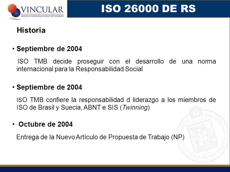Septiembre de 2004 ISO TMB decide proseguir con el desarrollo de una norma internacional para la Responsabilidad Social Septiembre de 2004 IS O TMB confiere la responsabilidad d liderazgo a los miembros de ISO de Brasil y Suecia, ABNT e SIS (Twinning) Octubre de 2004 Entrega de la Nuevo Artículo de Propuesta de Trabajo (NP) ISO 26000 DE RS Historia
