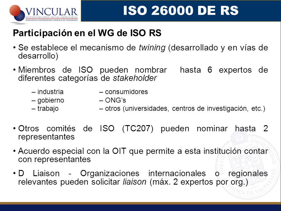 ISO 26000 DE RS Participación en el WG de ISO RS Se establece el mecanismo de twining (desarrollado y en vías de desarrollo) Miembros de ISO pueden nombrar hasta 6 expertos de diferentes categorías de stakeholder – industria – consumidores – gobierno – ONGs – trabajo – otros (universidades, centros de investigación, etc.) Otros comités de ISO (TC207) pueden nominar hasta 2 representantes Acuerdo especial con la OIT que permite a esta institución contar con representantes D Liaison - Organizaciones internacionales o regionales relevantes pueden solicitar liaison (máx.
