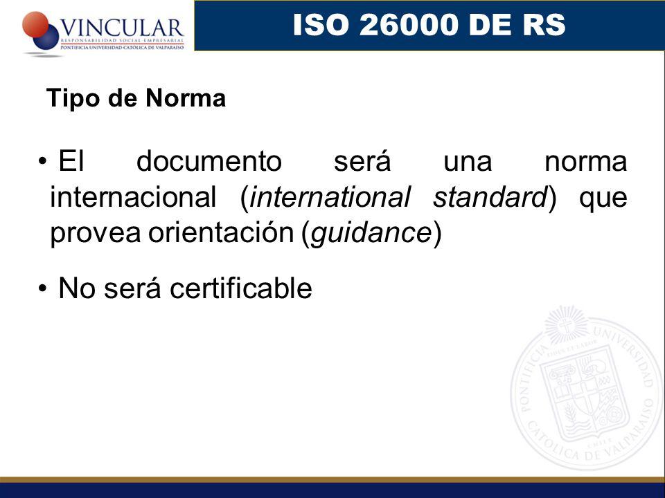 El documento será una norma internacional (international standard) que provea orientación (guidance) No será certificable ISO 26000 DE RS Tipo de Norma
