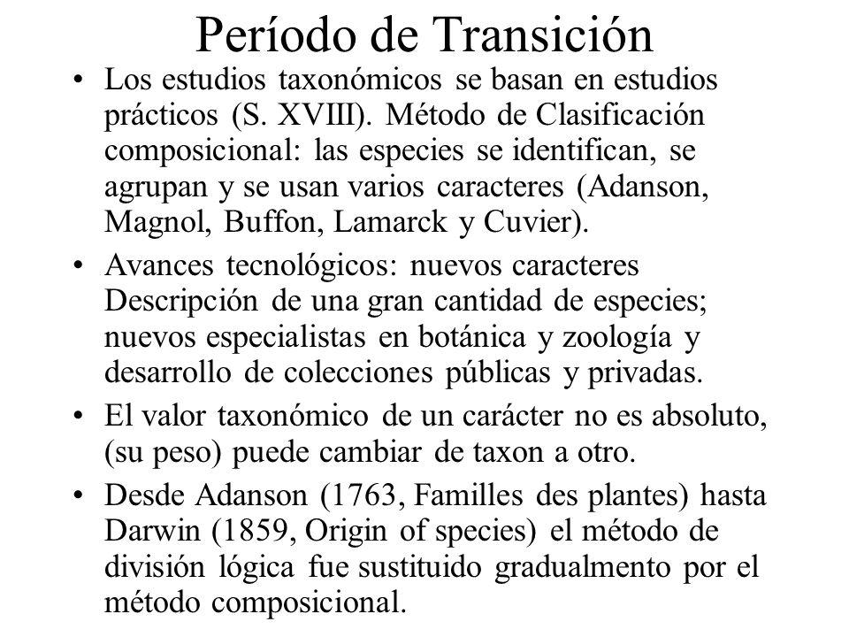 Período de Transición Los estudios taxonómicos se basan en estudios prácticos (S. XVIII). Método de Clasificación composicional: las especies se ident