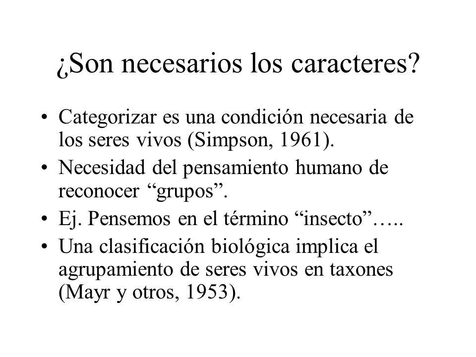 ¿Son necesarios los caracteres? Categorizar es una condición necesaria de los seres vivos (Simpson, 1961). Necesidad del pensamiento humano de reconoc