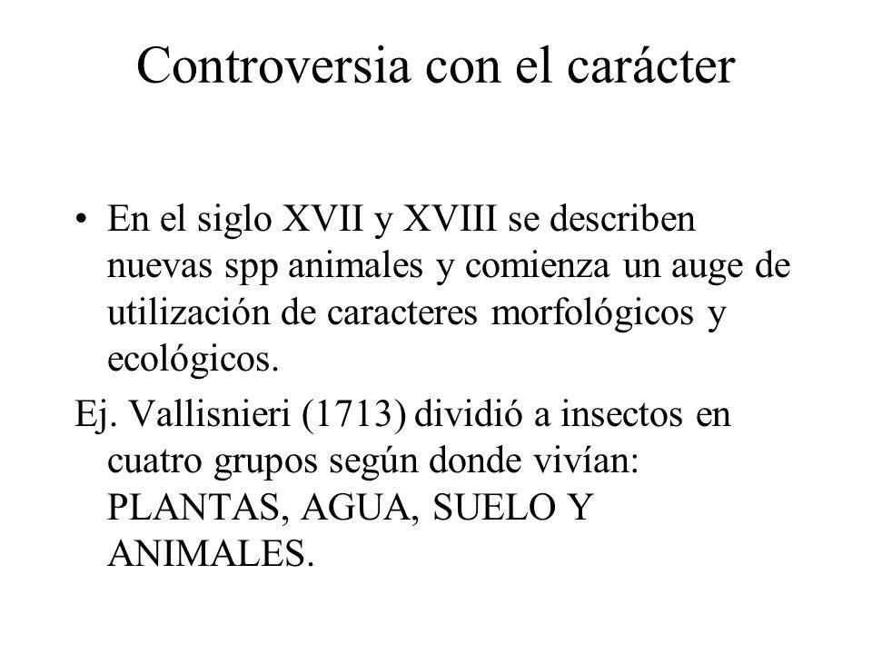 Controversia con el carácter En el siglo XVII y XVIII se describen nuevas spp animales y comienza un auge de utilización de caracteres morfológicos y