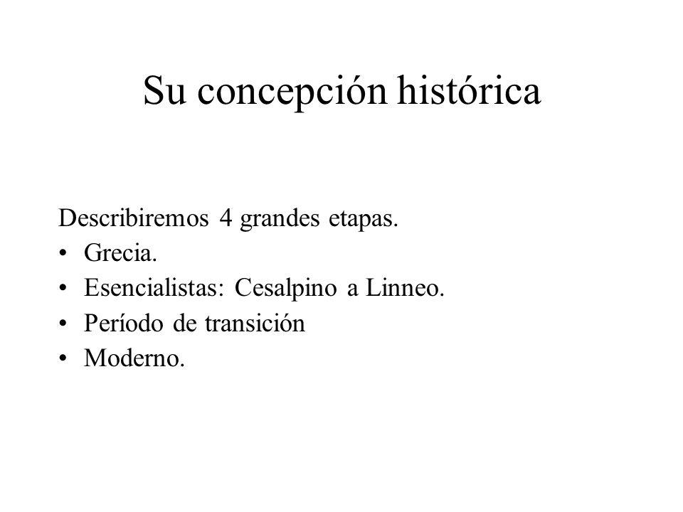 Su concepción histórica Describiremos 4 grandes etapas. Grecia. Esencialistas: Cesalpino a Linneo. Período de transición Moderno.