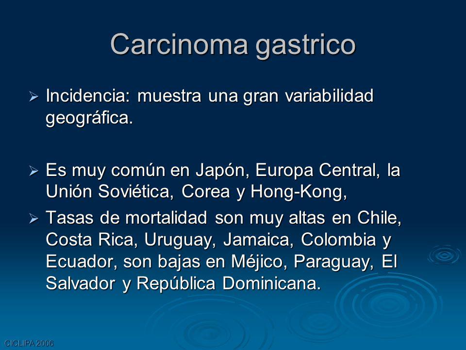 CICLIPA 2006 Carcinoma gastrico Incidencia: muestra una gran variabilidad geográfica. Incidencia: muestra una gran variabilidad geográfica. Es muy com