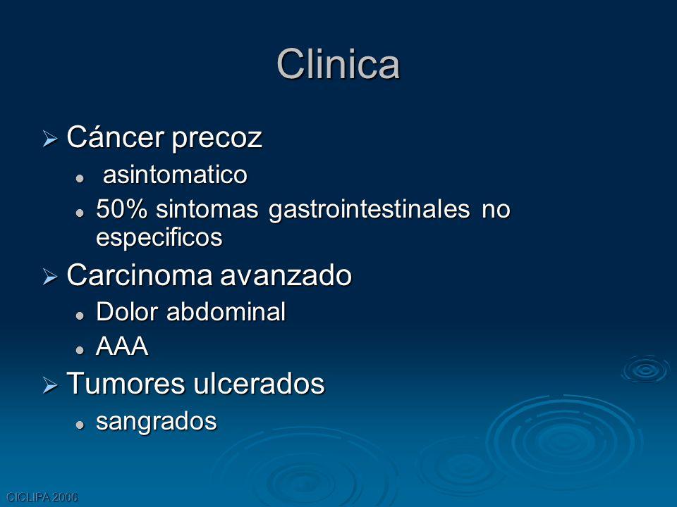CICLIPA 2006 Clinica Cáncer precoz Cáncer precoz asintomatico asintomatico 50% sintomas gastrointestinales no especificos 50% sintomas gastrointestina