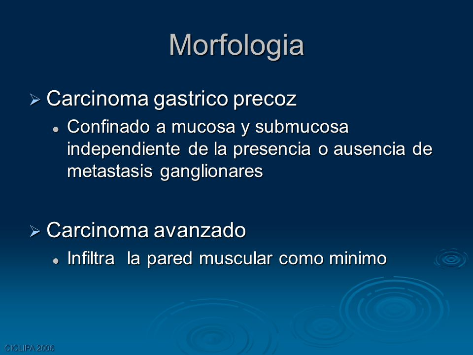 CICLIPA 2006 Morfologia Carcinoma gastrico precoz Carcinoma gastrico precoz Confinado a mucosa y submucosa independiente de la presencia o ausencia de