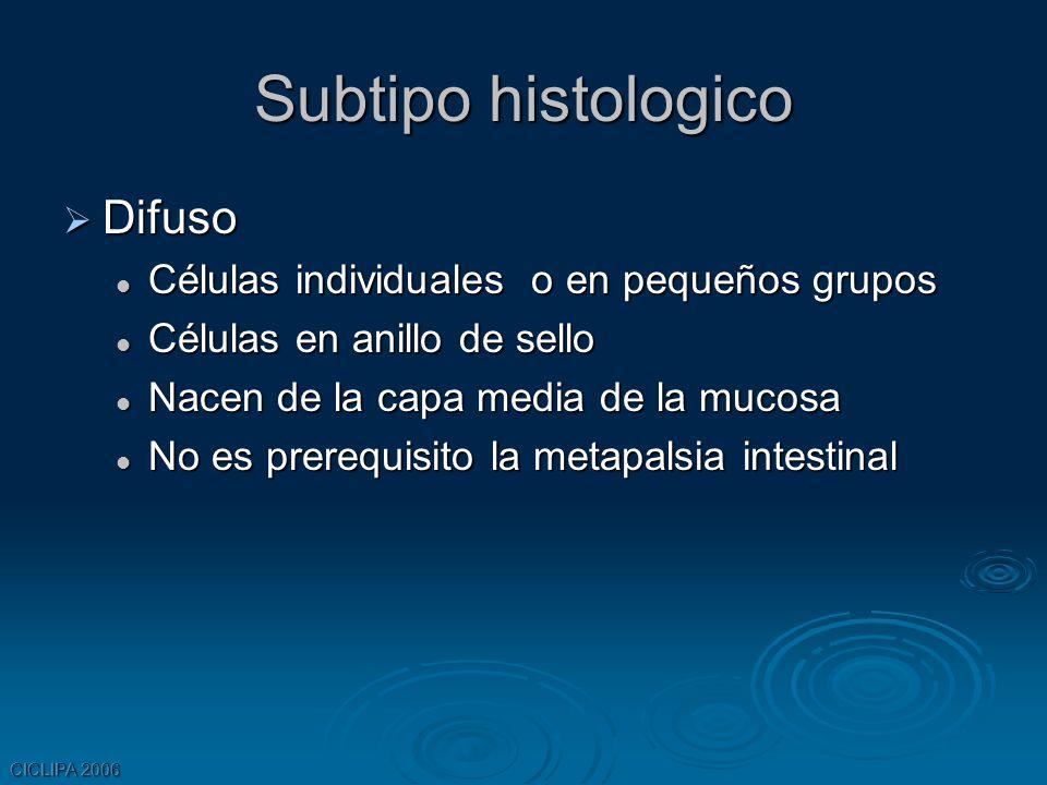 CICLIPA 2006 Subtipo histologico Difuso Difuso Células individuales o en pequeños grupos Células individuales o en pequeños grupos Células en anillo d
