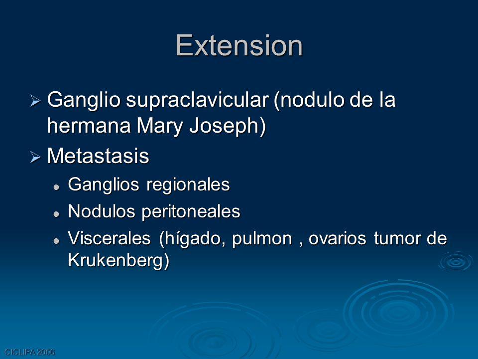 CICLIPA 2006 Extension Ganglio supraclavicular (nodulo de la hermana Mary Joseph) Ganglio supraclavicular (nodulo de la hermana Mary Joseph) Metastasi