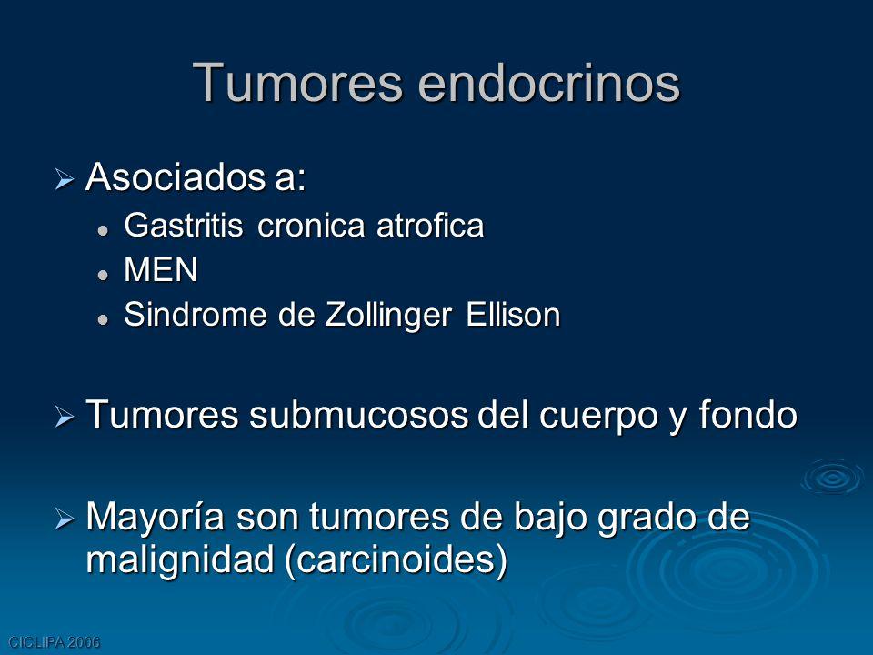 Tumores endocrinos Asociados a: Asociados a: Gastritis cronica atrofica Gastritis cronica atrofica MEN MEN Sindrome de Zollinger Ellison Sindrome de Z