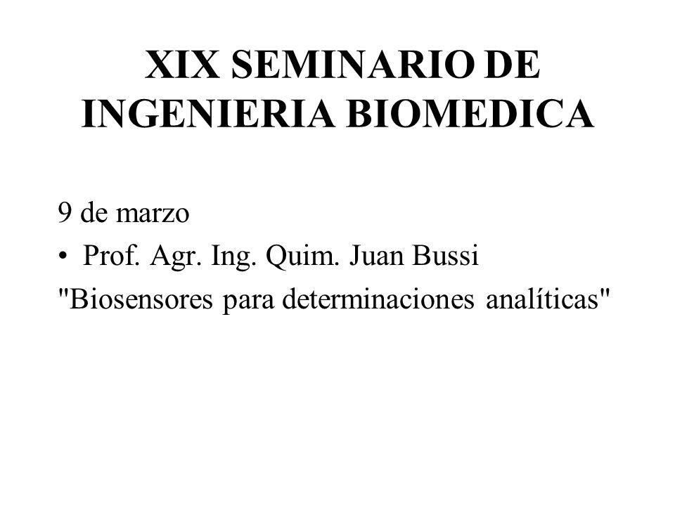 XIX SEMINARIO DE INGENIERIA BIOMEDICA 9 de marzo Prof. Agr. Ing. Quim. Juan Bussi