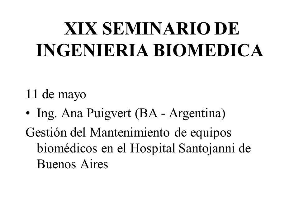 XIX SEMINARIO DE INGENIERIA BIOMEDICA 11 de mayo Ing. Ana Puigvert (BA - Argentina) Gestión del Mantenimiento de equipos biomédicos en el Hospital San