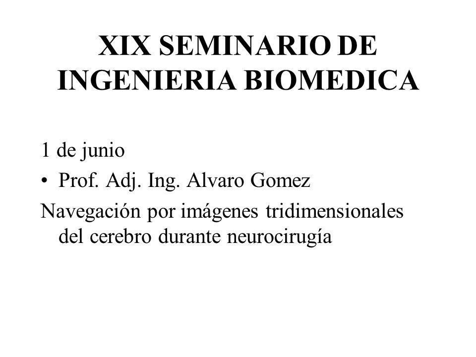 XIX SEMINARIO DE INGENIERIA BIOMEDICA 1 de junio Prof. Adj. Ing. Alvaro Gomez Navegación por imágenes tridimensionales del cerebro durante neurocirugí