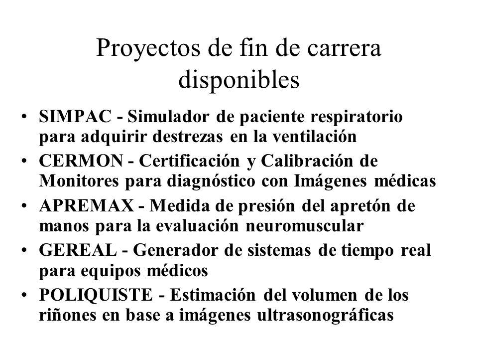 Proyectos de fin de carrera disponibles SIMPAC - Simulador de paciente respiratorio para adquirir destrezas en la ventilación CERMON - Certificación y
