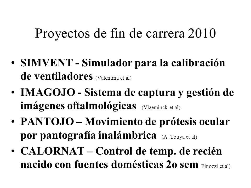 Proyectos de fin de carrera 2010 SIMVENT - Simulador para la calibración de ventiladores (Valentina et al) IMAGOJO - Sistema de captura y gestión de i