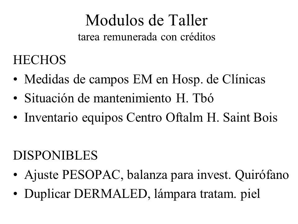 Modulos de Taller tarea remunerada con créditos HECHOS Medidas de campos EM en Hosp. de Clínicas Situación de mantenimiento H. Tbó Inventario equipos