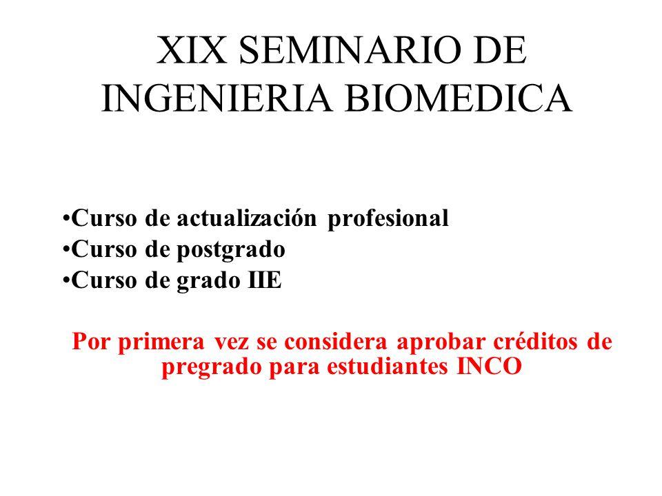 XIX SEMINARIO DE INGENIERIA BIOMEDICA Curso de actualización profesional Curso de postgrado Curso de grado IIE Por primera vez se considera aprobar cr