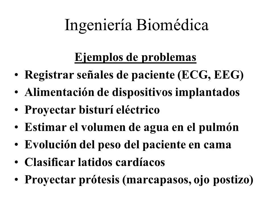 Ingeniería Biomédica Ejemplos de problemas Registrar señales de paciente (ECG, EEG) Alimentación de dispositivos implantados Proyectar bisturí eléctri