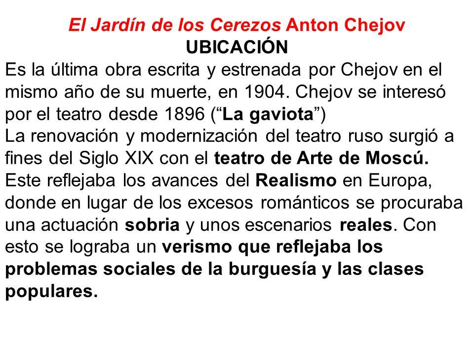 El Jardín de los Cerezos Anton Chejov UBICACIÓN Es la última obra escrita y estrenada por Chejov en el mismo año de su muerte, en 1904. Chejov se inte