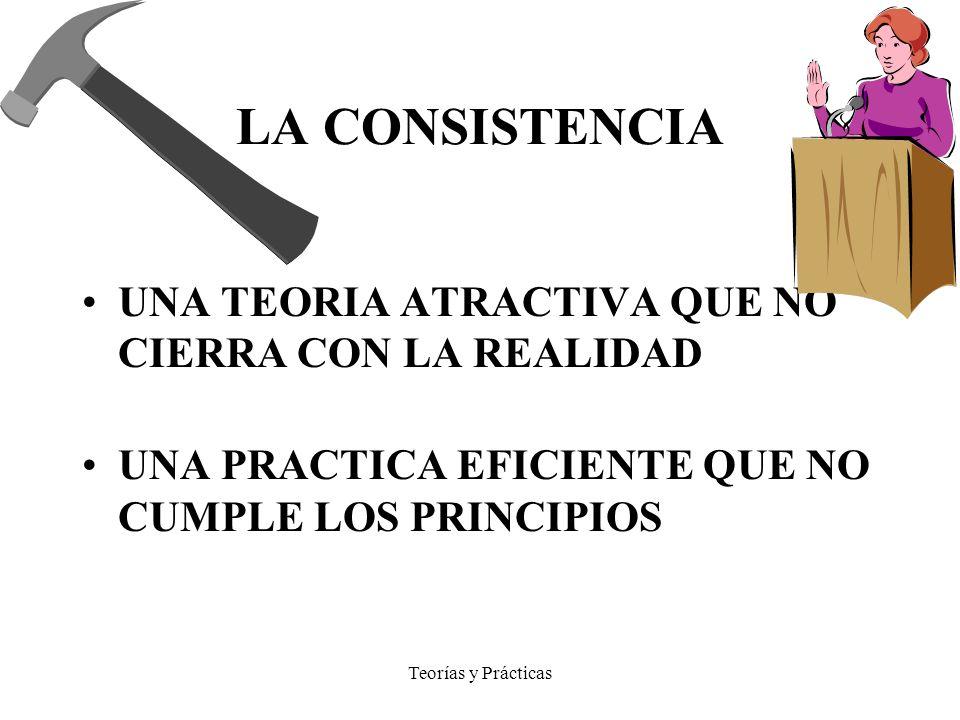 Teorías y Prácticas LA CONSISTENCIA UNA TEORIA ATRACTIVA QUE NO CIERRA CON LA REALIDAD UNA PRACTICA EFICIENTE QUE NO CUMPLE LOS PRINCIPIOS