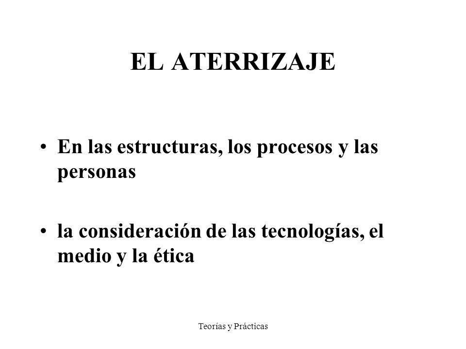 Teorías y Prácticas EL ATERRIZAJE En las estructuras, los procesos y las personas la consideración de las tecnologías, el medio y la ética