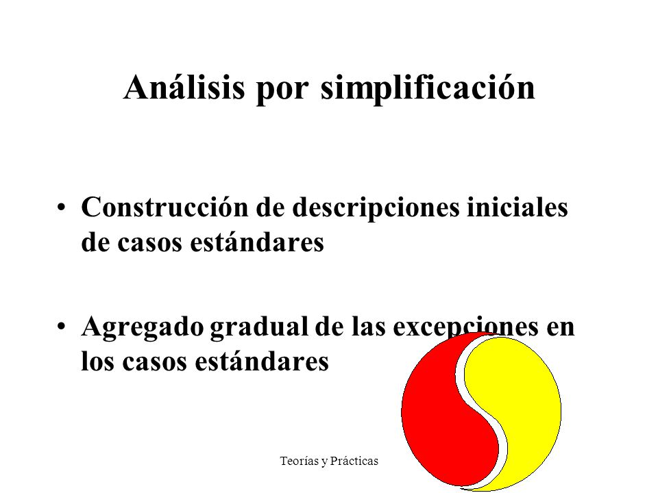 Teorías y Prácticas Análisis por simplificación Construcción de descripciones iniciales de casos estándares Agregado gradual de las excepciones en los