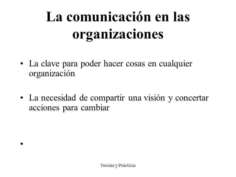 Teorías y Prácticas La comunicación en las organizaciones La clave para poder hacer cosas en cualquier organización La necesidad de compartir una visión y concertar acciones para cambiar