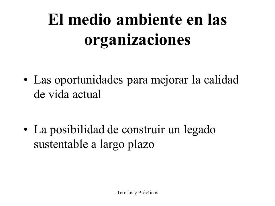 Teorías y Prácticas El medio ambiente en las organizaciones Las oportunidades para mejorar la calidad de vida actual La posibilidad de construir un legado sustentable a largo plazo