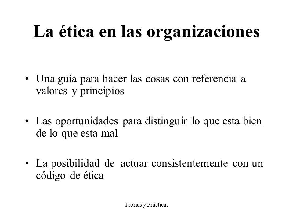 Teorías y Prácticas La ética en las organizaciones Una guía para hacer las cosas con referencia a valores y principios Las oportunidades para distingu