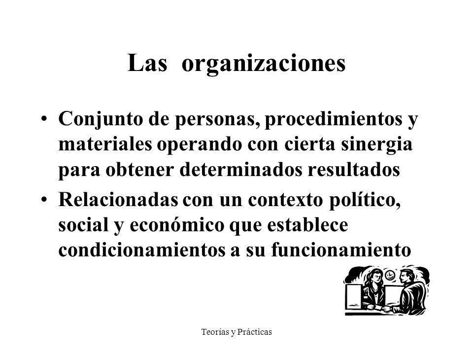 Teorías y Prácticas Las organizaciones Conjunto de personas, procedimientos y materiales operando con cierta sinergia para obtener determinados resultados Relacionadas con un contexto político, social y económico que establece condicionamientos a su funcionamiento