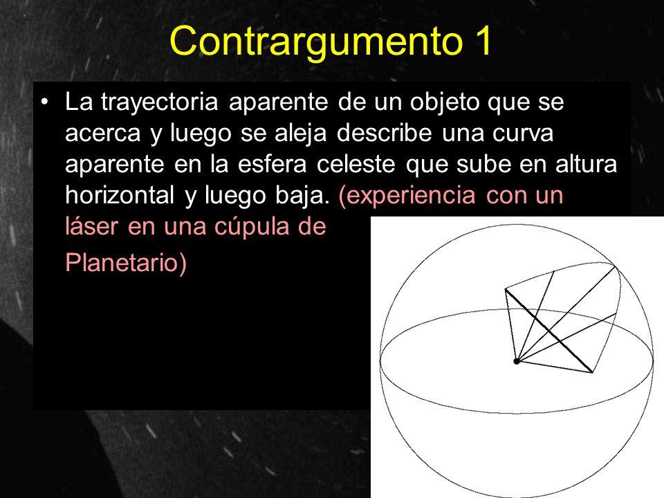 Contrargumento 1 La trayectoria aparente de un objeto que se acerca y luego se aleja describe una curva aparente en la esfera celeste que sube en altu