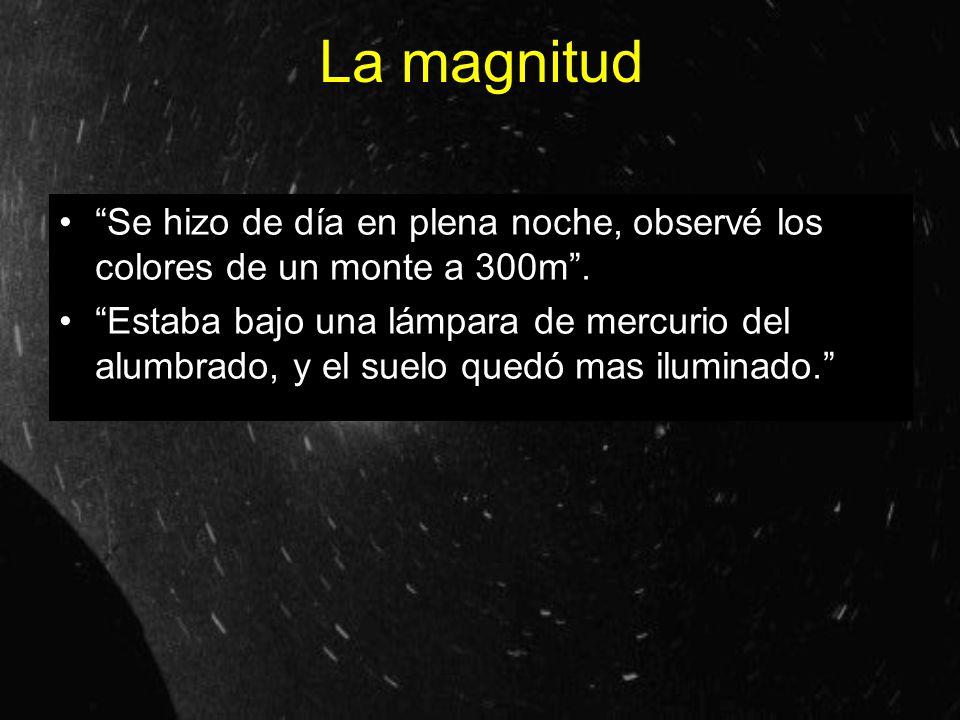 La magnitud Se hizo de día en plena noche, observé los colores de un monte a 300m. Estaba bajo una lámpara de mercurio del alumbrado, y el suelo quedó