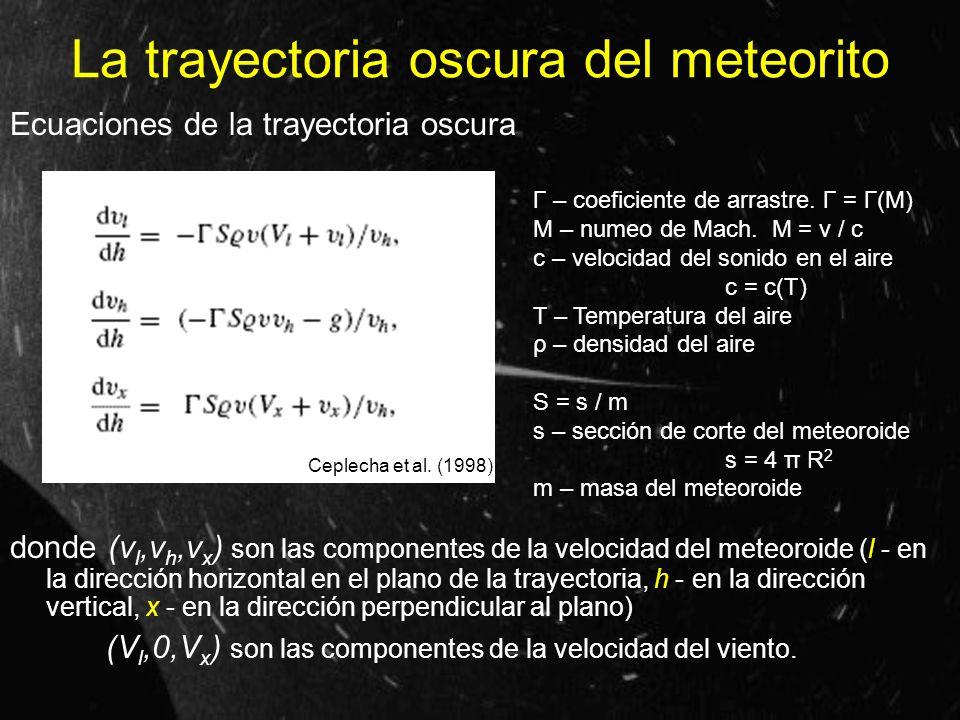 La trayectoria oscura del meteorito Ecuaciones de la trayectoria oscura donde (v l,v h,v x ) son las componentes de la velocidad del meteoroide (l - e