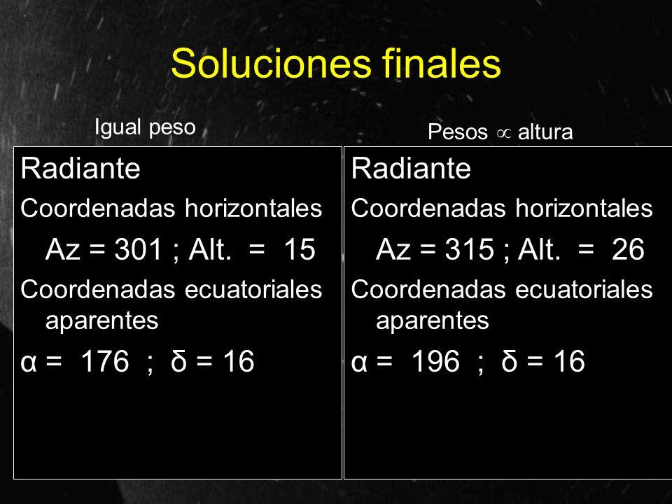 Soluciones finales Radiante Coordenadas horizontales Az = 301 ; Alt. = 15 Coordenadas ecuatoriales aparentes α = 176 ; δ = 16 Radiante Coordenadas hor