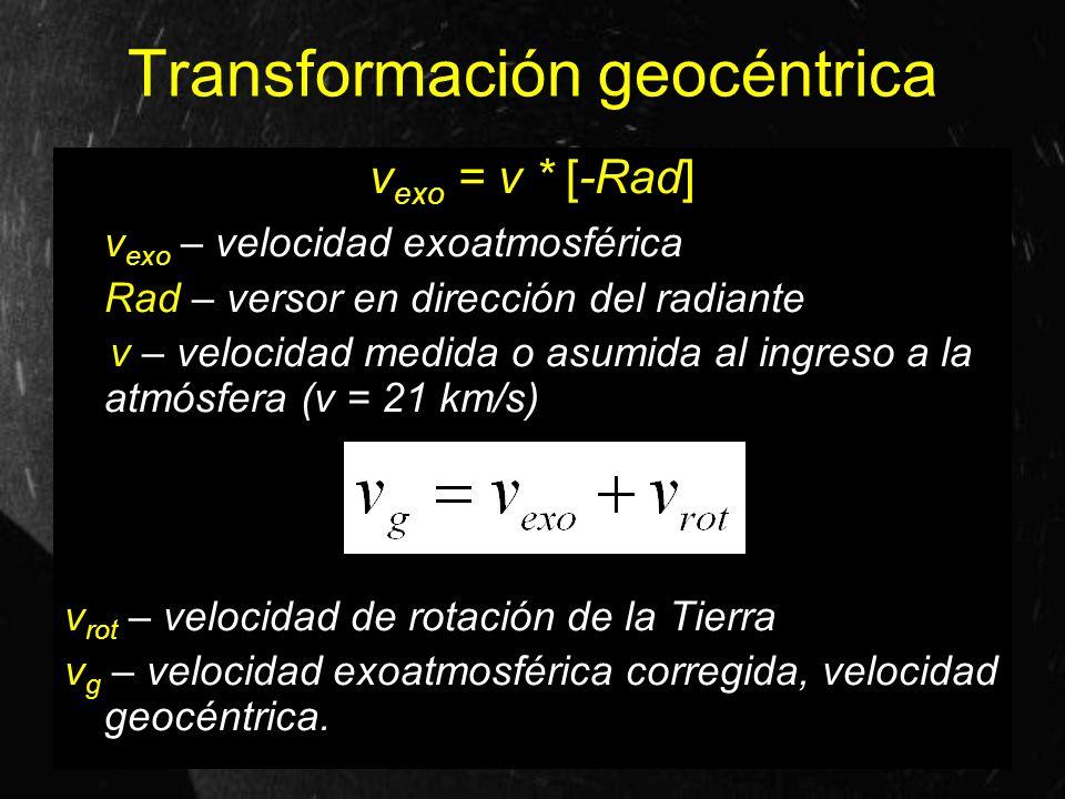 Transformación geocéntrica v exo = v * [-Rad] v exo – velocidad exoatmosférica Rad – versor en dirección del radiante v – velocidad medida o asumida a