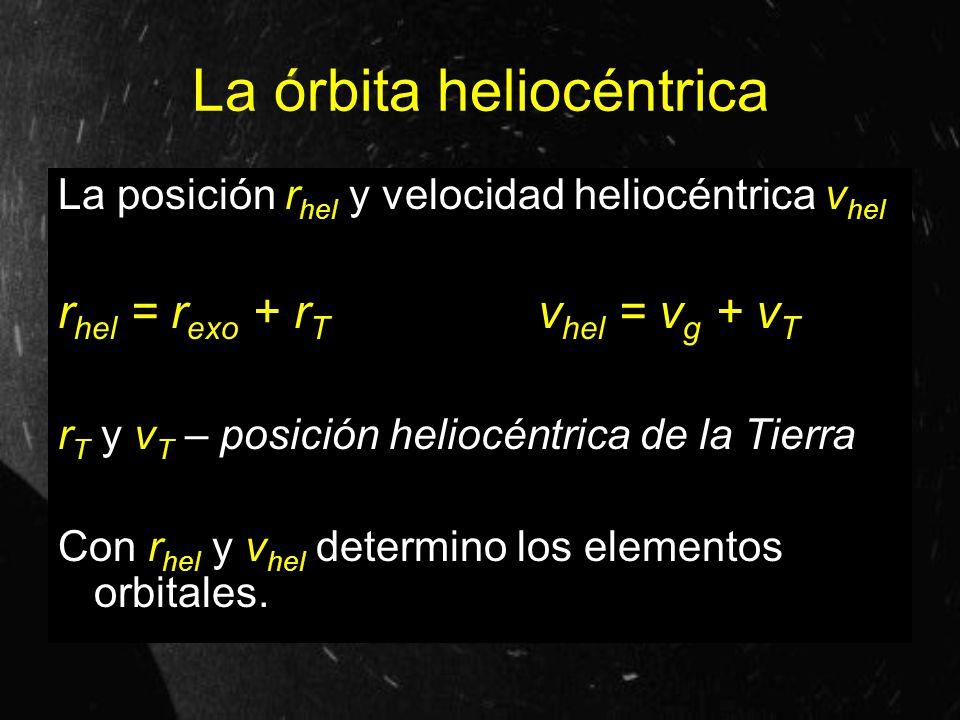 La órbita heliocéntrica La posición r hel y velocidad heliocéntrica v hel r hel = r exo + r T v hel = v g + v T r T y v T – posición heliocéntrica de